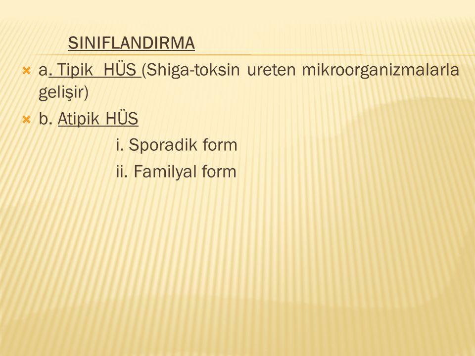 SINIFLANDIRMA a. Tipik HÜS (Shiga-toksin ureten mikroorganizmalarla gelişir) b. Atipik HÜS. i. Sporadik form.