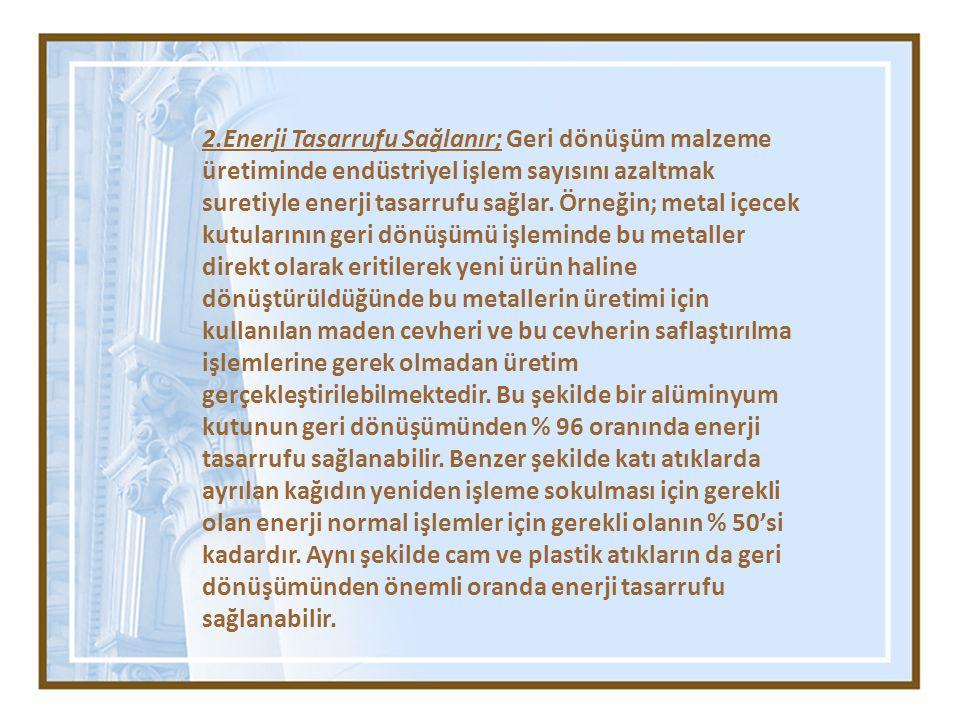 2.Enerji Tasarrufu Sağlanır; Geri dönüşüm malzeme üretiminde endüstriyel işlem sayısını azaltmak suretiyle enerji tasarrufu sağlar.