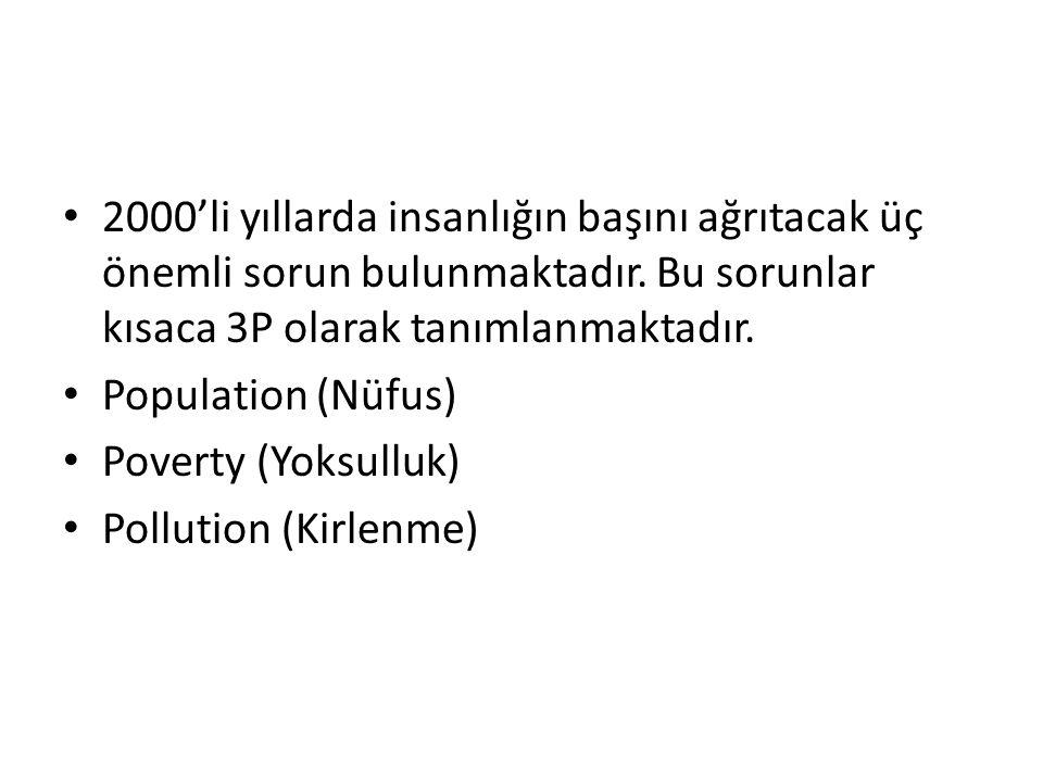 2000'li yıllarda insanlığın başını ağrıtacak üç önemli sorun bulunmaktadır. Bu sorunlar kısaca 3P olarak tanımlanmaktadır.