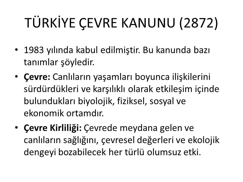 TÜRKİYE ÇEVRE KANUNU (2872)