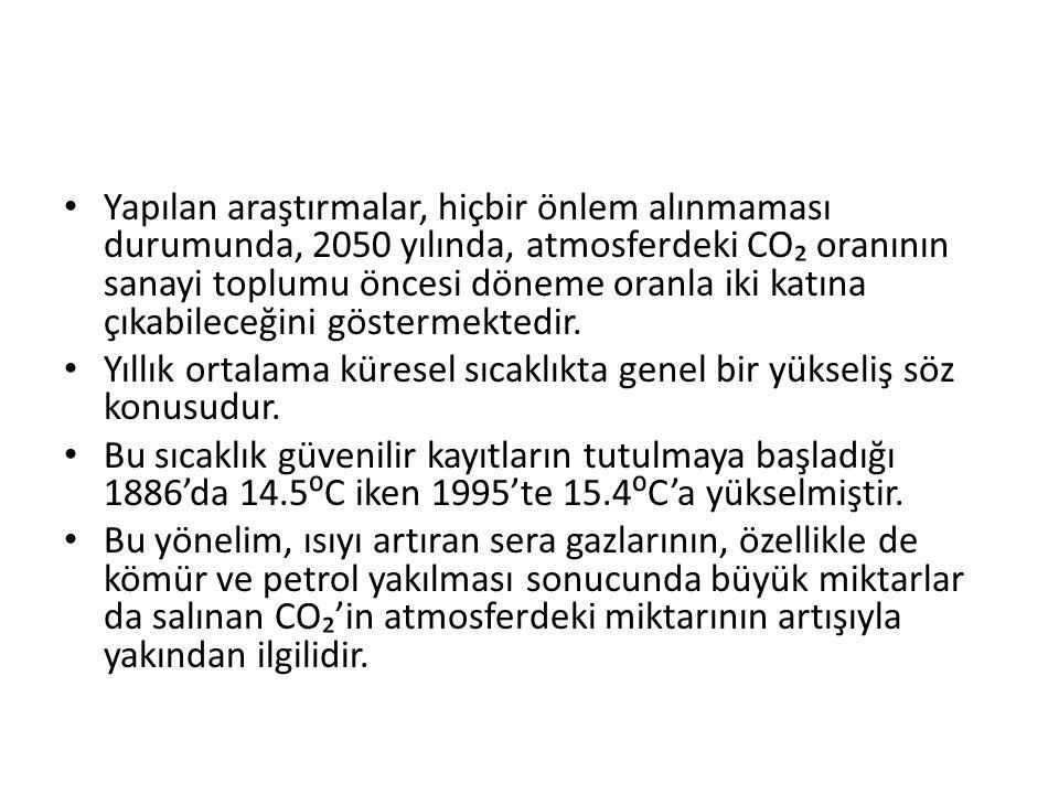 Yapılan araştırmalar, hiçbir önlem alınmaması durumunda, 2050 yılında, atmosferdeki CO₂ oranının sanayi toplumu öncesi döneme oranla iki katına çıkabileceğini göstermektedir.