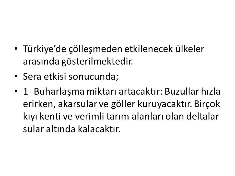 Türkiye'de çölleşmeden etkilenecek ülkeler arasında gösterilmektedir.