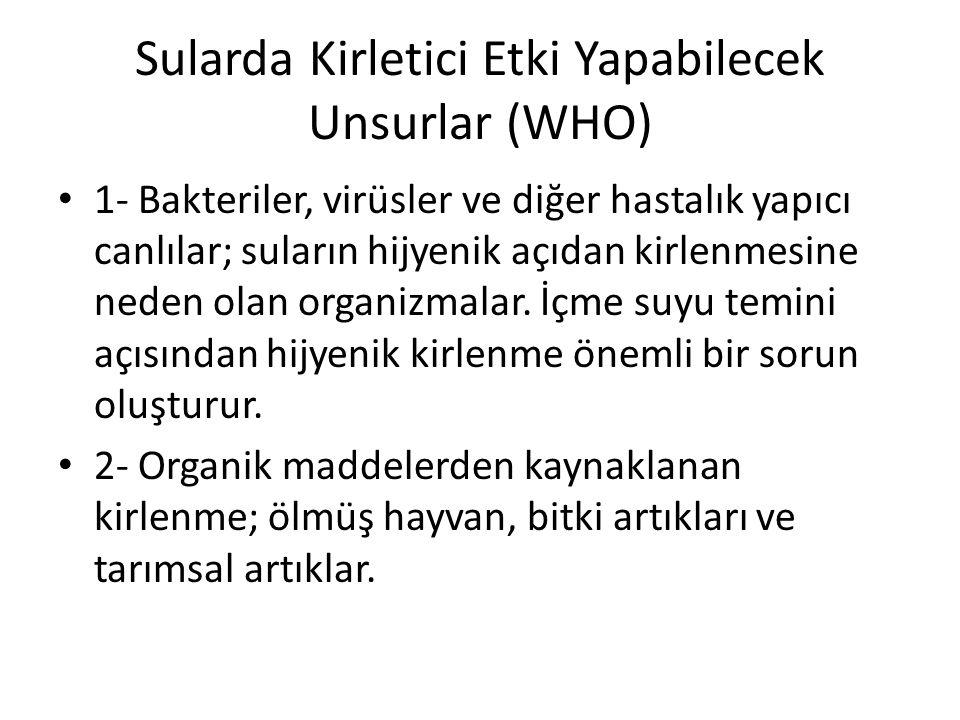 Sularda Kirletici Etki Yapabilecek Unsurlar (WHO)