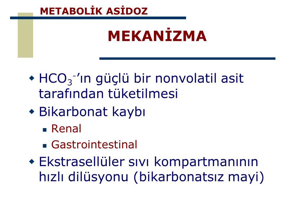 METABOLİK ASİDOZ MEKANİZMA. Ekstrasellüler sıvı kompartmanının hızlı dilüsyonu (bikarbonatsız mayi NEDEN