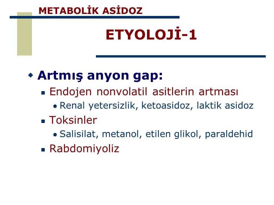 ETYOLOJİ-1 Artmış anyon gap: Endojen nonvolatil asitlerin artması