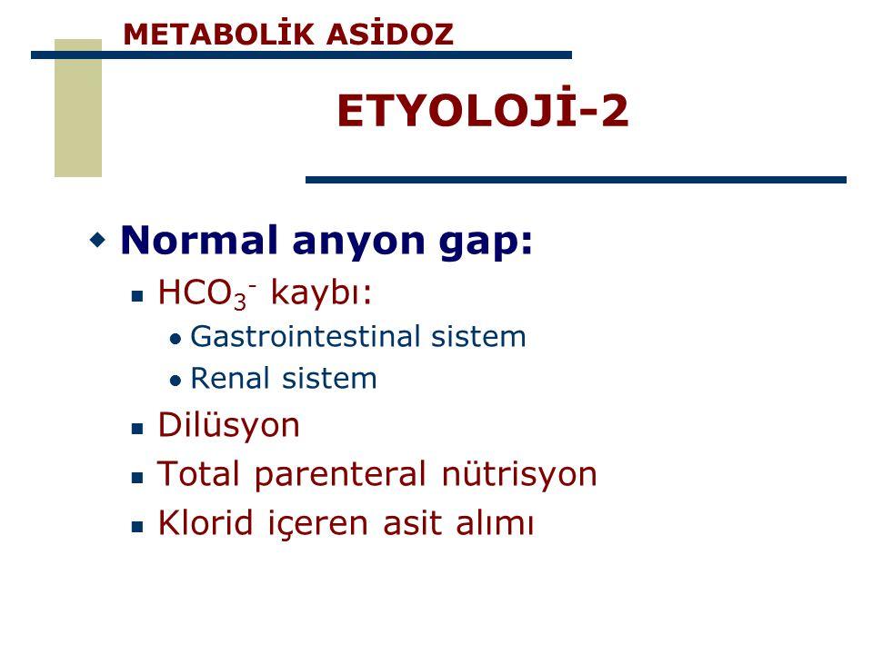 ETYOLOJİ-2 Normal anyon gap: HCO3- kaybı: Dilüsyon