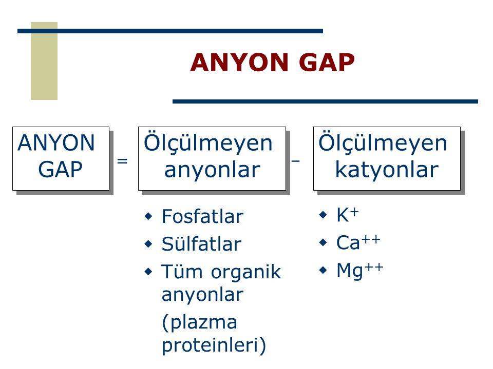 ANYON GAP ANYON GAP Ölçülmeyen anyonlar Ölçülmeyen katyonlar Fosfatlar