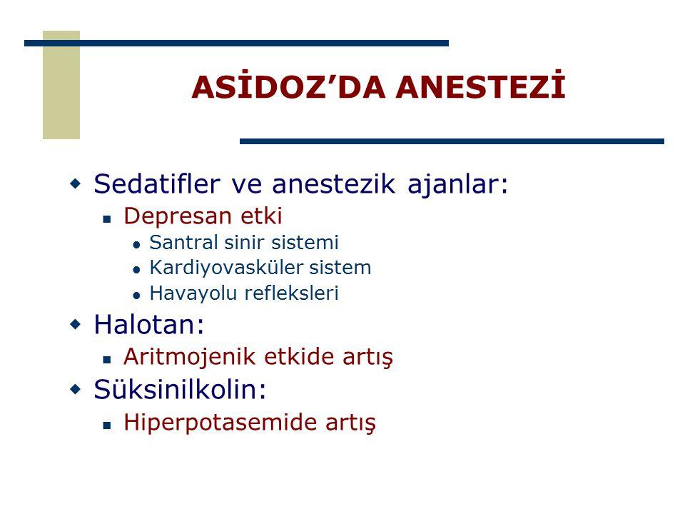 ASİDOZ'DA ANESTEZİ Sedatifler ve anestezik ajanlar: Halotan: