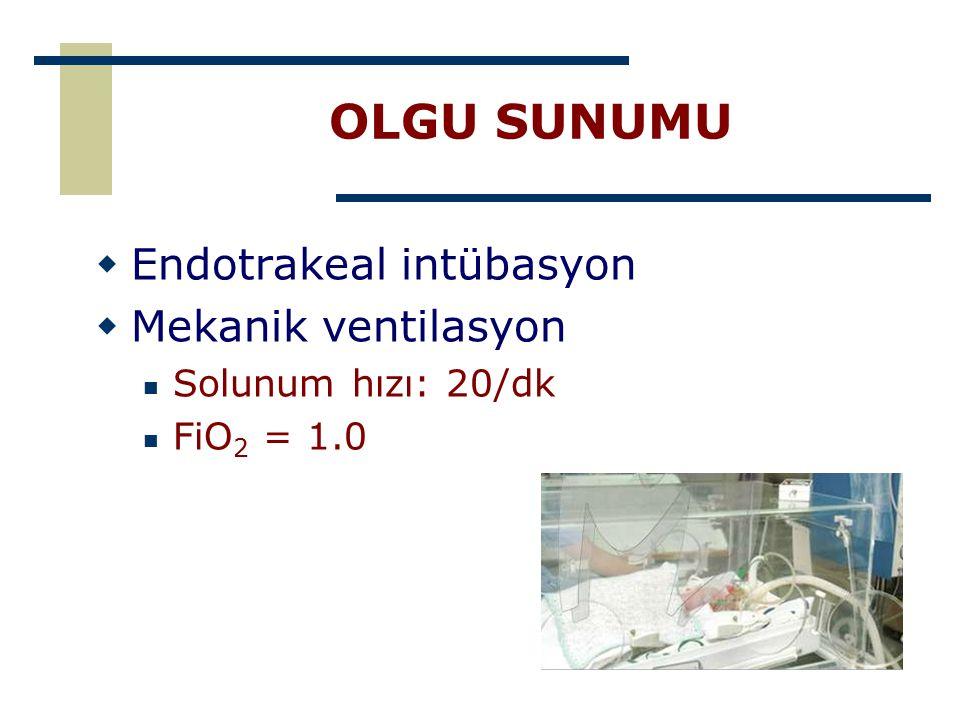 OLGU SUNUMU Endotrakeal intübasyon Mekanik ventilasyon
