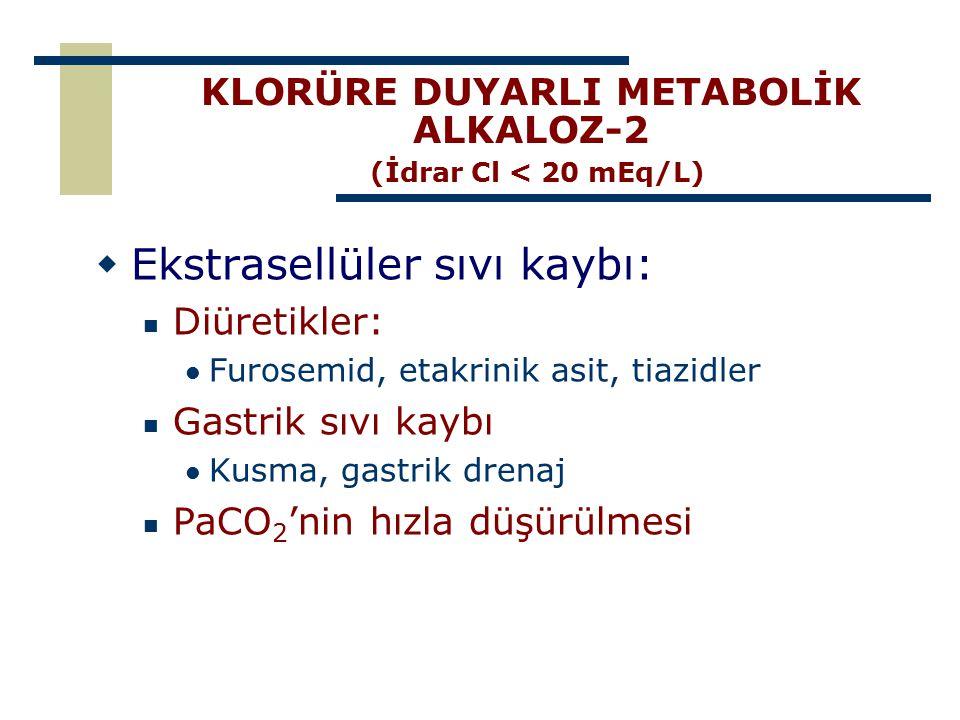 KLORÜRE DUYARLI METABOLİK ALKALOZ-2 (İdrar Cl < 20 mEq/L)