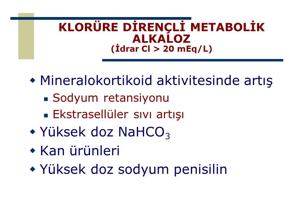 KLORÜRE DİRENÇLİ METABOLİK ALKALOZ (İdrar Cl > 20 mEq/L)