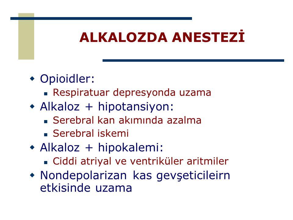 ALKALOZDA ANESTEZİ Opioidler: Alkaloz + hipotansiyon: