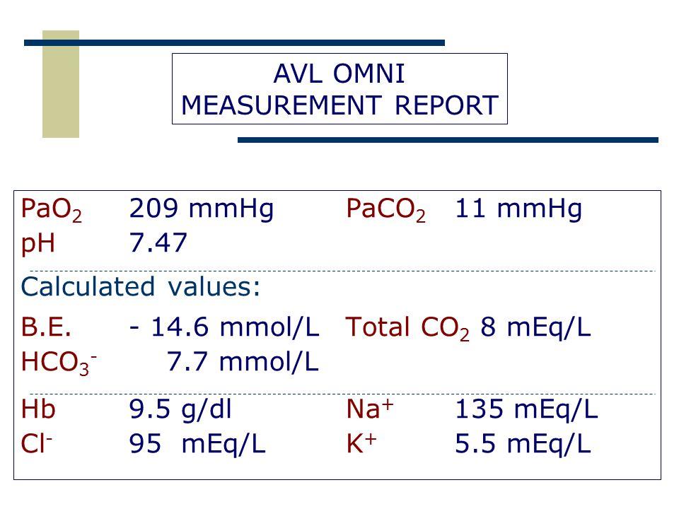 B.E. - 14.6 mmol/L Total CO2 8 mEq/L HCO3- 7.7 mmol/L