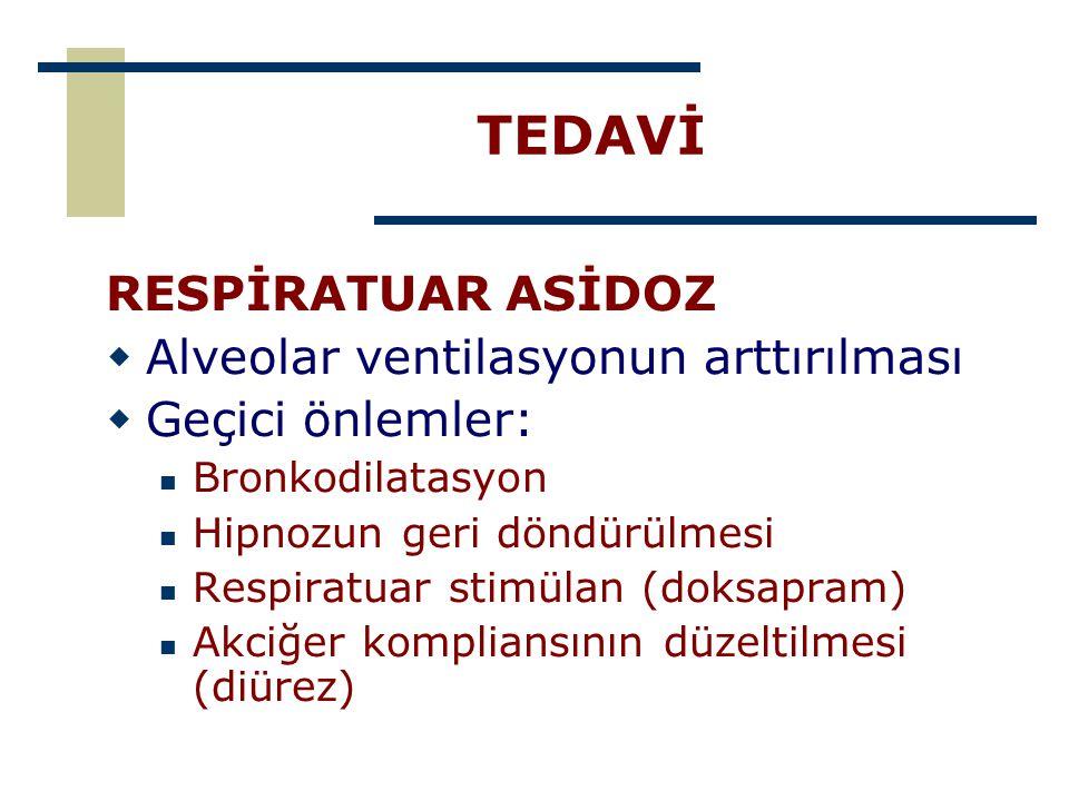 TEDAVİ RESPİRATUAR ASİDOZ Alveolar ventilasyonun arttırılması