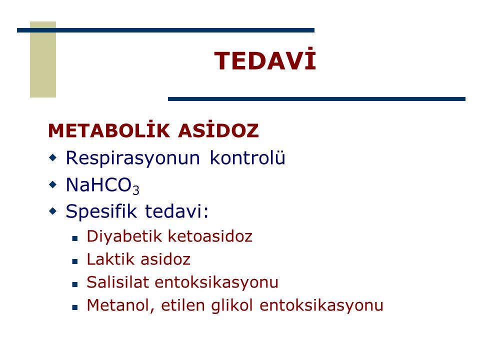 TEDAVİ METABOLİK ASİDOZ Respirasyonun kontrolü NaHCO3 Spesifik tedavi: