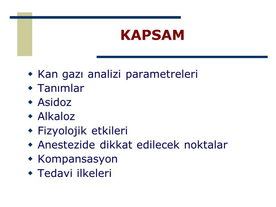 KAPSAM Kan gazı analizi parametreleri Tanımlar Asidoz Alkaloz