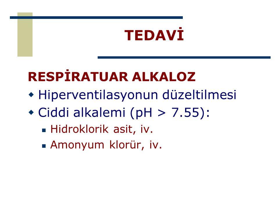 TEDAVİ RESPİRATUAR ALKALOZ Hiperventilasyonun düzeltilmesi