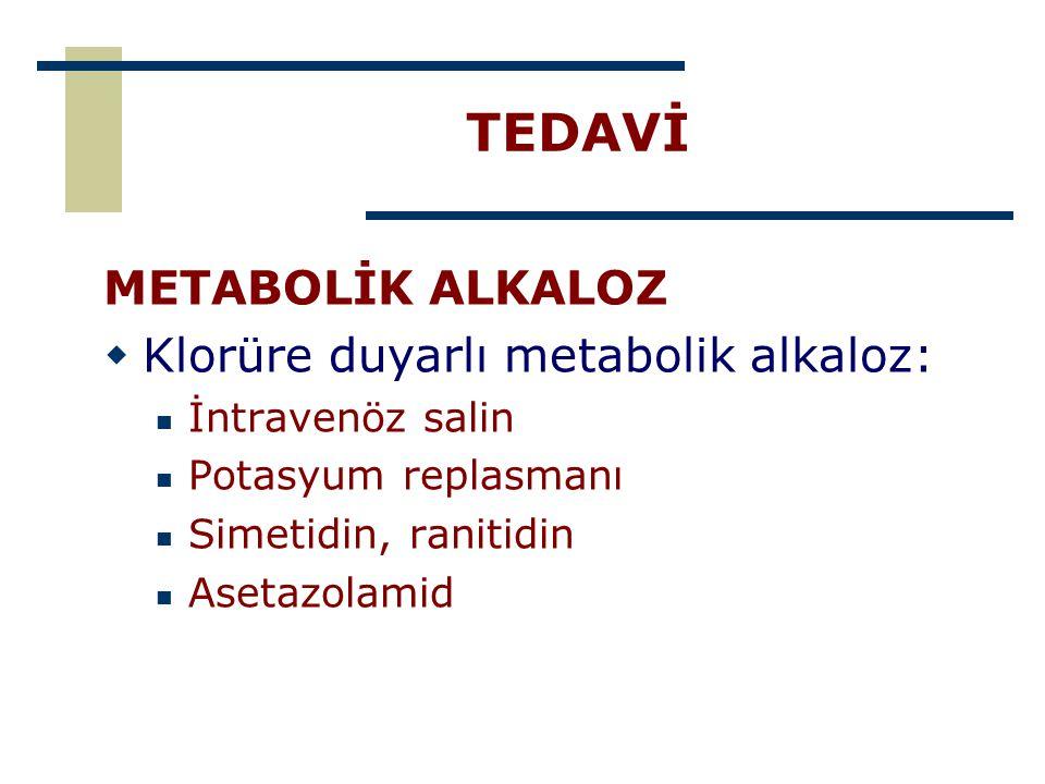TEDAVİ METABOLİK ALKALOZ Klorüre duyarlı metabolik alkaloz: