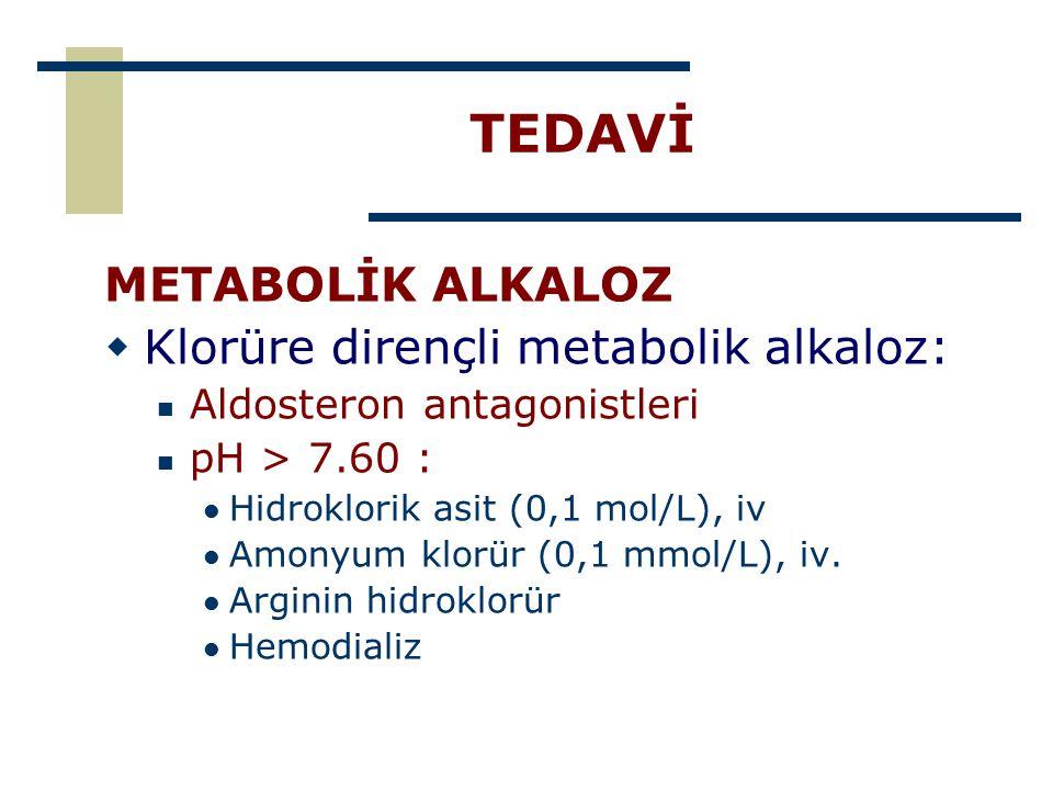 TEDAVİ METABOLİK ALKALOZ Klorüre dirençli metabolik alkaloz: