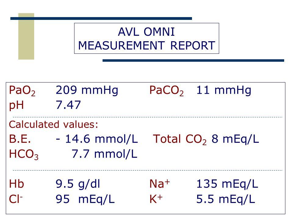 B.E. - 14.6 mmol/L Total CO2 8 mEq/L HCO3 7.7 mmol/L