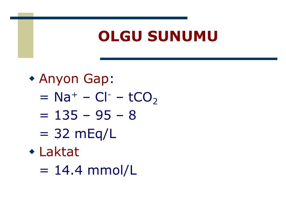 OLGU SUNUMU Anyon Gap: = Na+ – Cl- – tCO2 = 135 – 95 – 8 = 32 mEq/L