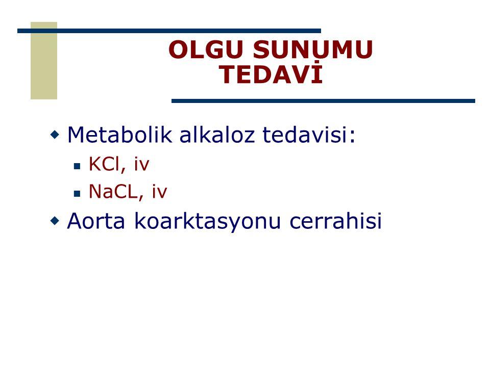 OLGU SUNUMU TEDAVİ Metabolik alkaloz tedavisi: