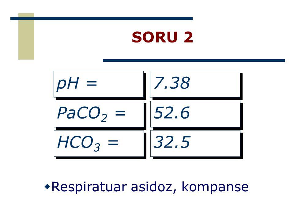 SORU 2 pH = 7.38 PaCO2 = 52.6 HCO3 = 32.5 Respiratuar asidoz, kompanse
