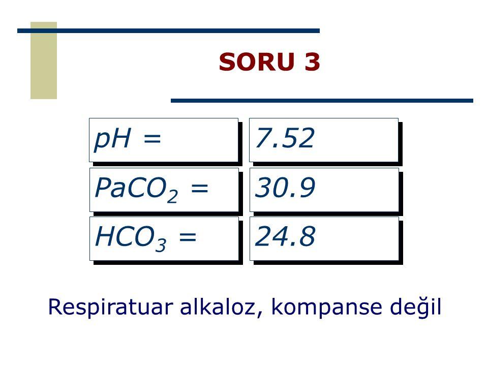 SORU 3 pH = 7.52 PaCO2 = 30.9 HCO3 = 24.8 Respiratuar alkaloz, kompanse değil