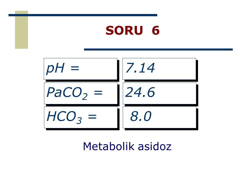 SORU 6 pH = 7.14 PaCO2 = 24.6 HCO3 = 8.0 Metabolik asidoz