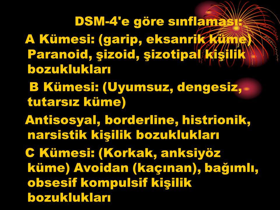 DSM-4 e göre sınflaması: