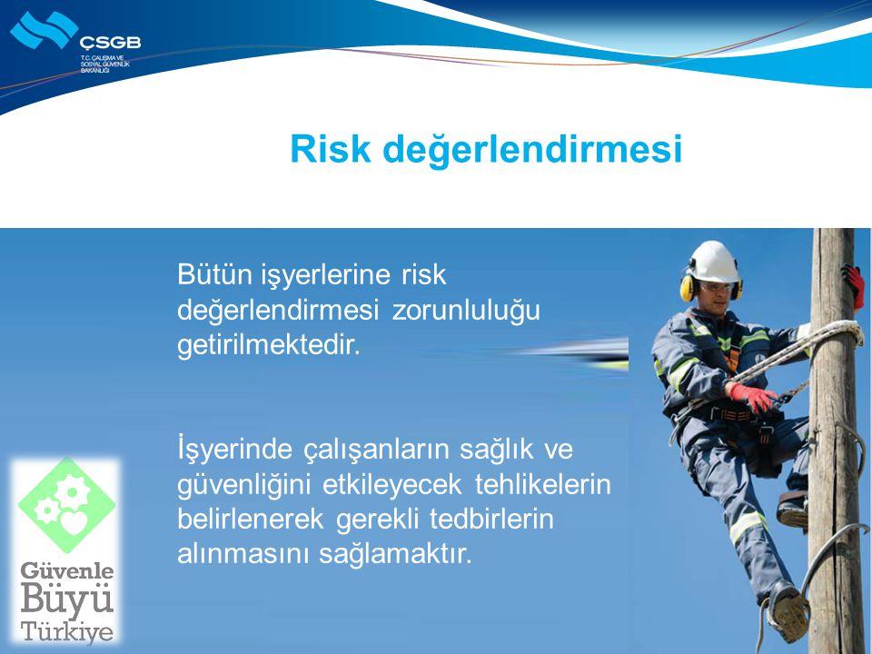 Risk değerlendirmesi Bütün işyerlerine risk değerlendirmesi zorunluluğu getirilmektedir.