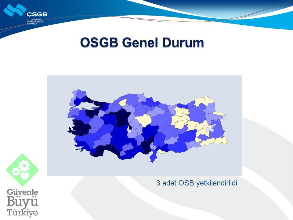 OSGB Genel Durum 3 adet OSB yetkilendirildi