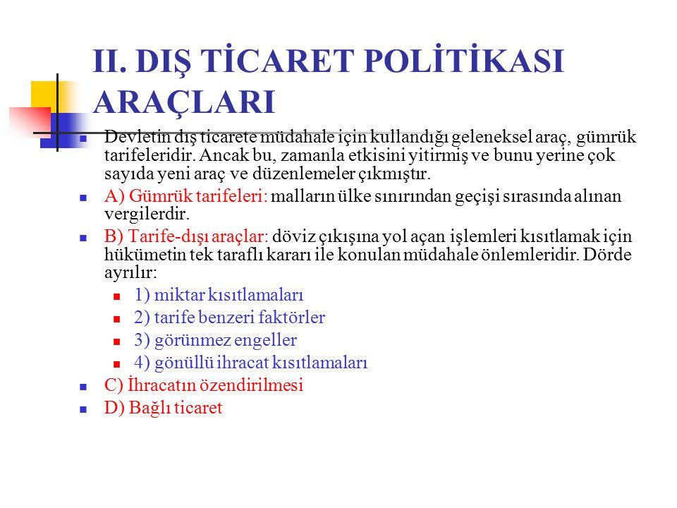 II. DIŞ TİCARET POLİTİKASI ARAÇLARI