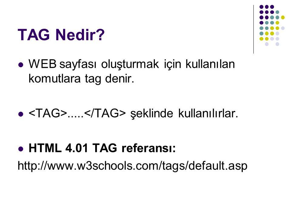 TAG Nedir WEB sayfası oluşturmak için kullanılan komutlara tag denir.