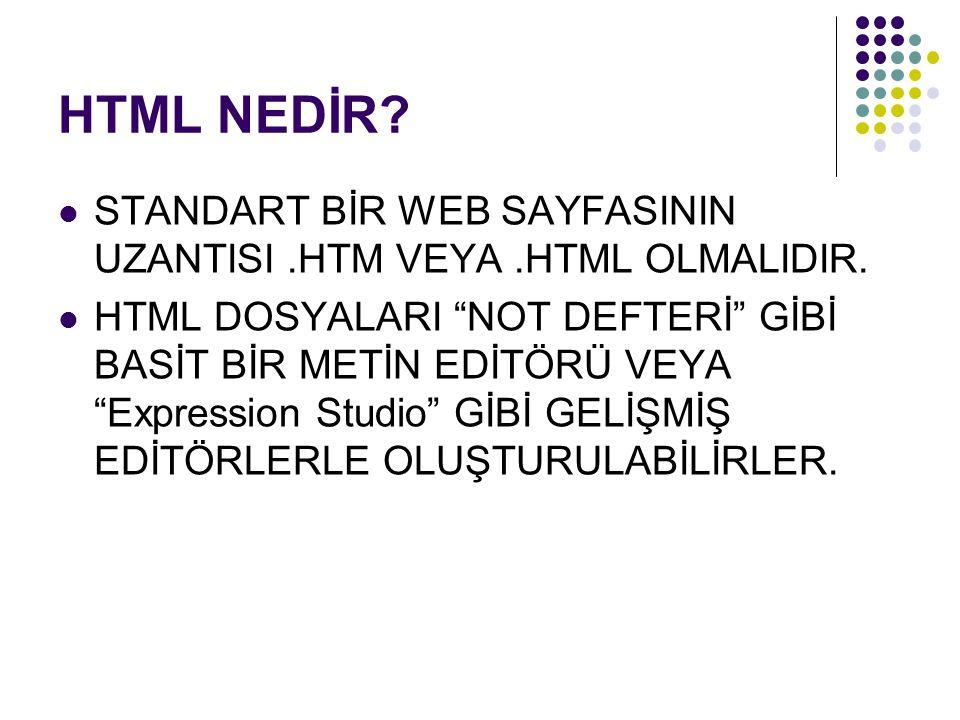 HTML NEDİR STANDART BİR WEB SAYFASININ UZANTISI .HTM VEYA .HTML OLMALIDIR.