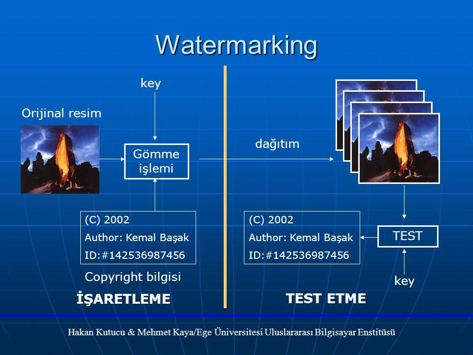 Watermarking İŞARETLEME TEST ETME key Orijinal resim dağıtım