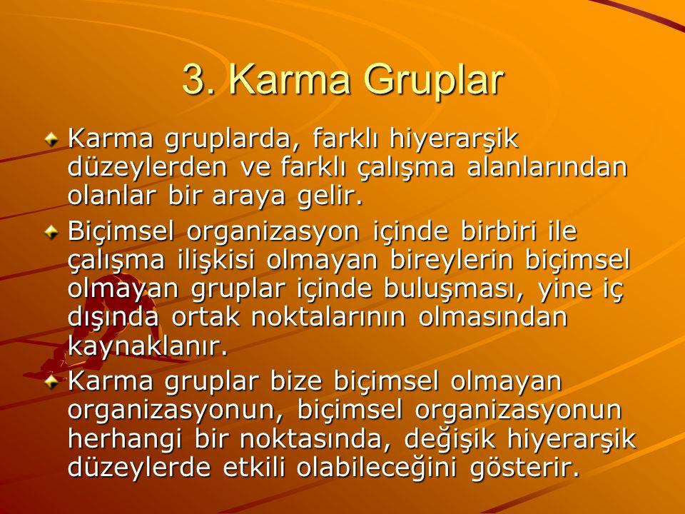 3. Karma Gruplar Karma gruplarda, farklı hiyerarşik düzeylerden ve farklı çalışma alanlarından olanlar bir araya gelir.