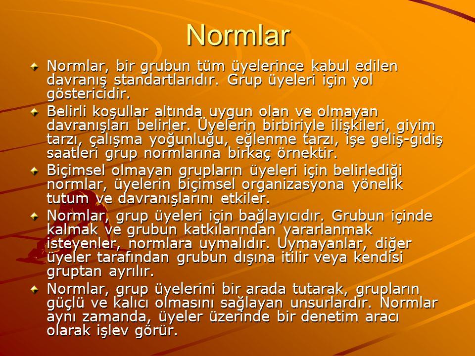 Normlar Normlar, bir grubun tüm üyelerince kabul edilen davranış standartlarıdır. Grup üyeleri için yol göstericidir.