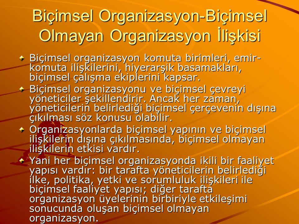 Biçimsel Organizasyon-Biçimsel Olmayan Organizasyon İlişkisi