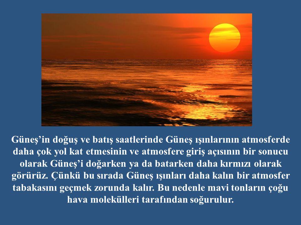 Güneş'in doğuş ve batış saatlerinde Güneş ışınlarının atmosferde daha çok yol kat etmesinin ve atmosfere giriş açısının bir sonucu olarak Güneş'i doğarken ya da batarken daha kırmızı olarak görürüz.