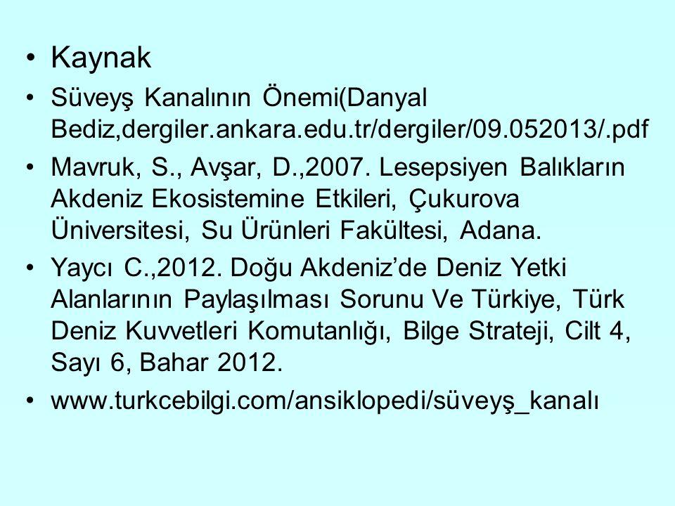 Kaynak Süveyş Kanalının Önemi(Danyal Bediz,dergiler.ankara.edu.tr/dergiler/09.052013/.pdf.