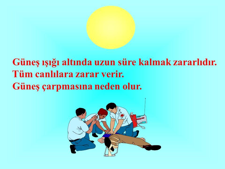 Güneş ışığı altında uzun süre kalmak zararlıdır.