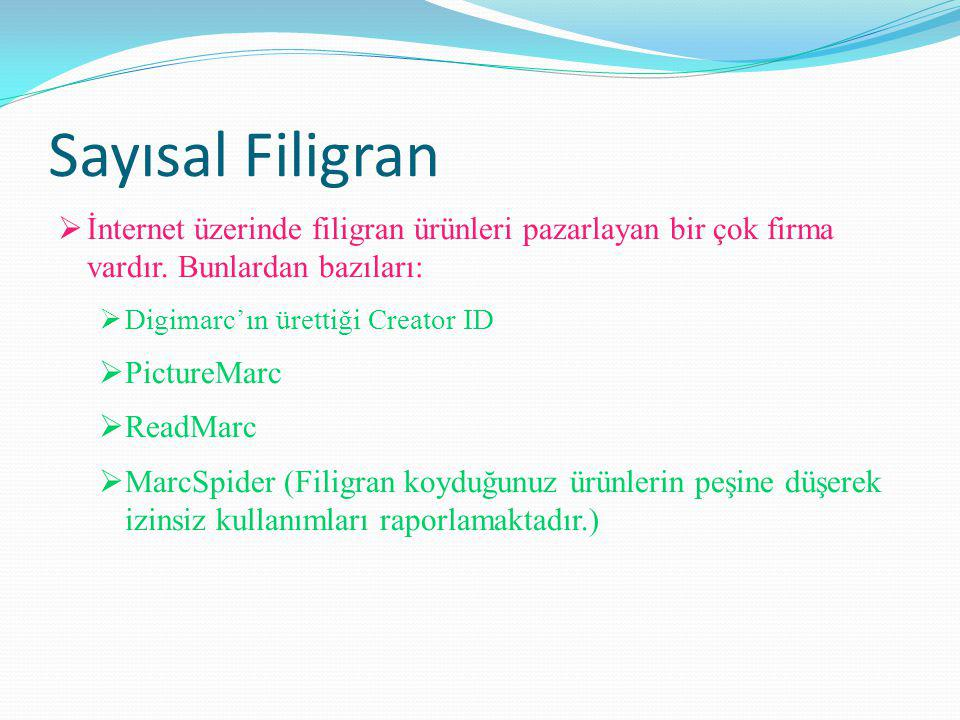 Sayısal Filigran İnternet üzerinde filigran ürünleri pazarlayan bir çok firma vardır. Bunlardan bazıları: