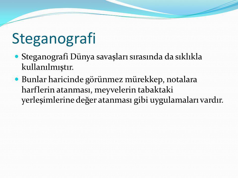 Steganografi Steganografi Dünya savaşları sırasında da sıklıkla kullanılmıştır.