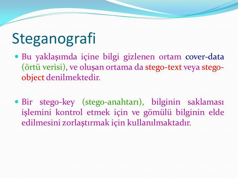 Steganografi Bu yaklaşımda içine bilgi gizlenen ortam cover-data (örtü verisi), ve oluşan ortama da stego-text veya stego-object denilmektedir.