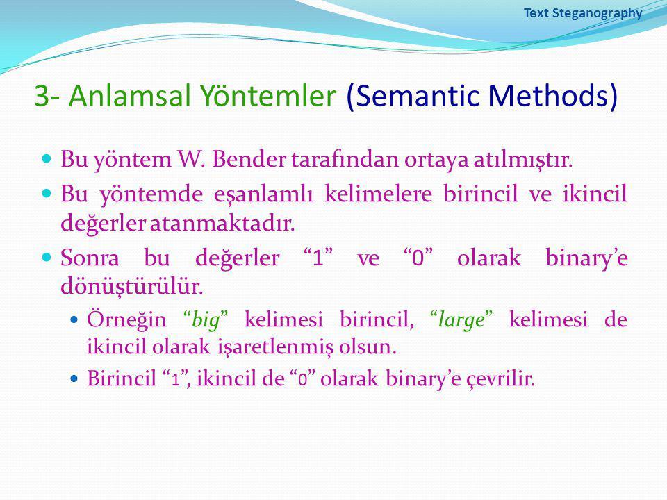 3- Anlamsal Yöntemler (Semantic Methods)