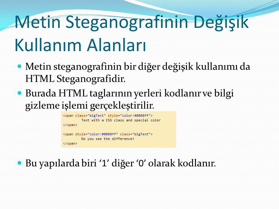 Metin Steganografinin Değişik Kullanım Alanları