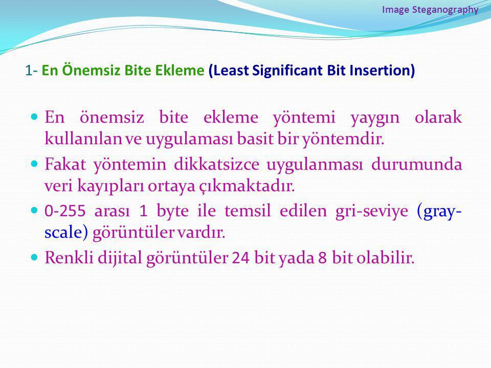 1- En Önemsiz Bite Ekleme (Least Significant Bit Insertion)