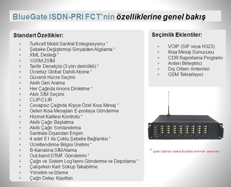 BlueGate ISDN-PRI FCT'nin özelliklerine genel bakış