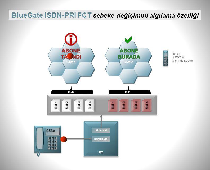   BlueGate ISDN-PRI FCT şebeke değişimini algılama özelliği ABONE